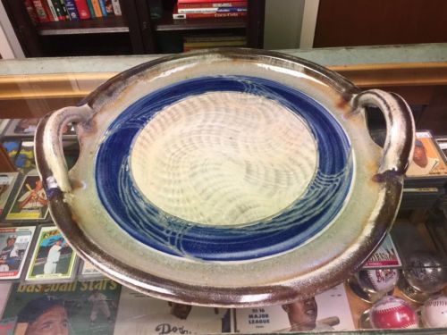 Studio Art Ceramic Handled Platter Glazed Blue Grey Brown 14-15