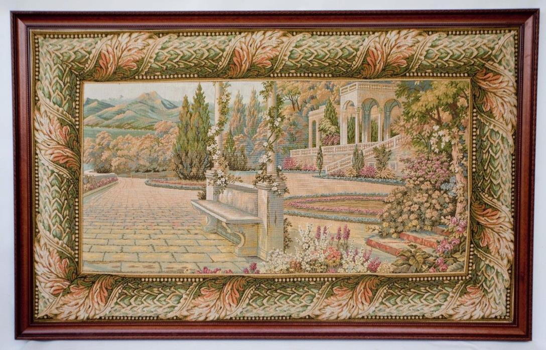 Large Tapestry LAKE COMO ITALIAN VILLA Wooden Frame Victorian Style 50