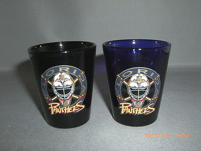 2 Florida Panthers Logo Shot Glasses Black & Cobalt Blue Glass