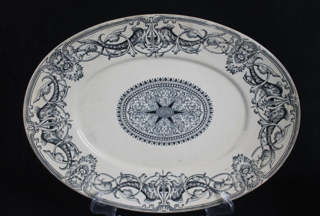 ANTIQUE 19th Century Transferware  T. FURNIVAL & SONS Large Platter - Gargoyles