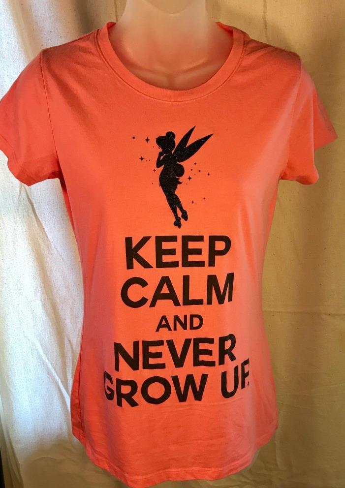 Disney Peter Pan Keep Calm Tinker Bell Women's Light Corral T-shirt Size M
