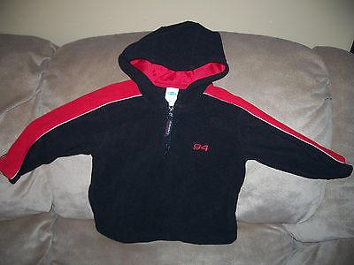 Toddler Boys 2T Old Navy Hooded Black & Red Fleece Shirt Top EEUC