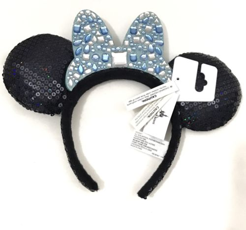 NWT Disney Minnie Mouse Navy Blue Sequin Ears With Baby Blue Bow/Rhinestones