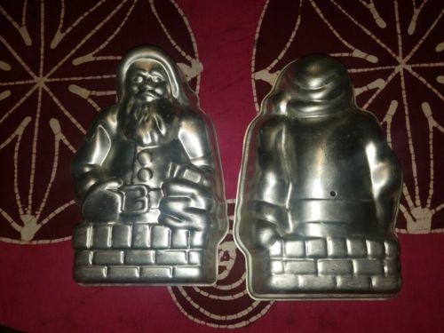 Vintage Nordic Ware 3D Santa Claus Christmas Stand Up Cake Mold Aluminum Pan