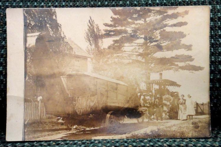 antique WAGON,PEOPLE,FARM MACHINERY real PHOTO POSTCARD rppc