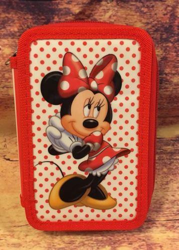 Vintage Disney Minnie Mouse Empty Colored Pencil Holder 3 Zipper Case Disneyla