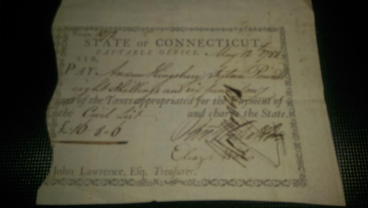 1788 SIGNED CONNECTICUT NOTE OLIVER WOLCOTT JR, ELEAZER WALES, HEZEKIAH ROGERS