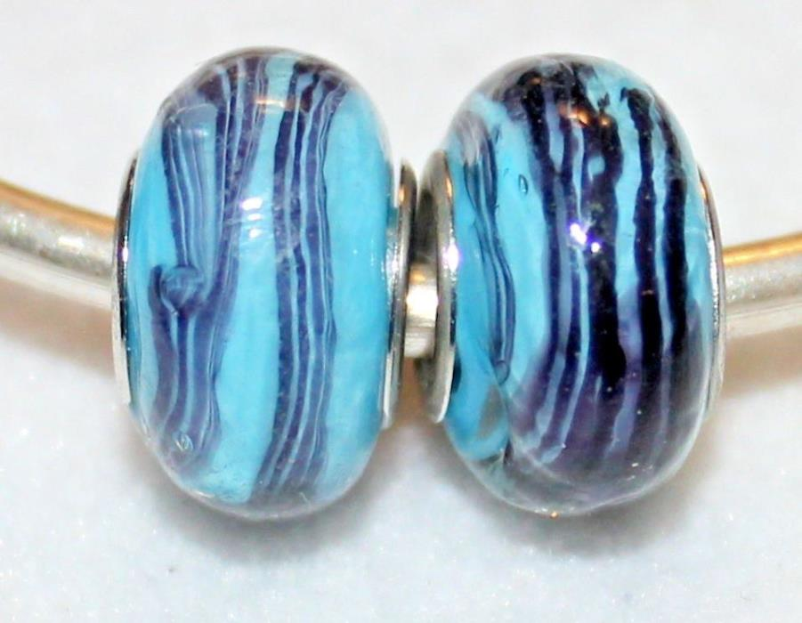 2x PURPLE STRIPE BLUE SILVER MURANO GLASS BEADS LOT K57 FITS EURO CHARM BRC