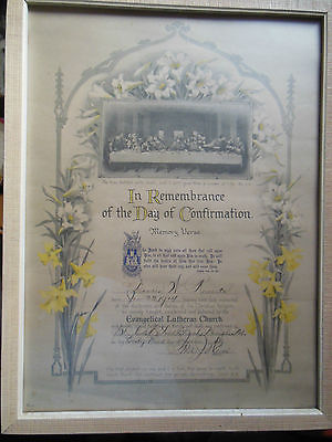 vintage 1929 Framed Confirmation Certificate Evangelical Lutheran Church NE