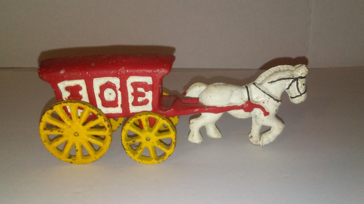 Vintage Cast Iron Toy Ice Wagon