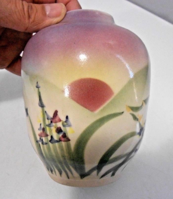 Studio Pottery Vase Hand Painted Flowers & Sunrise Signed Crandall