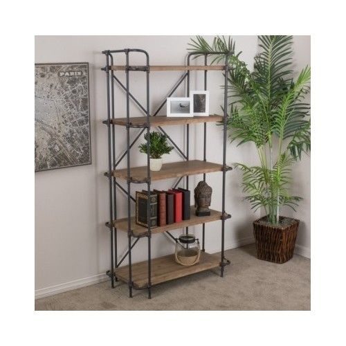 Industrial Metal Bookcase 5 Shelves Storage Wood Book Magazine Collectibles Loft