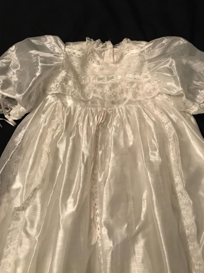 Novelty Grls Xtra Lng 3Pce Christening Outfit Satin Lace, Slip, Coat & Blanket