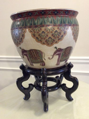 Antique Decor Chinese Fish Bowl Elephant Motif Porcelain Planter with Stand EUC
