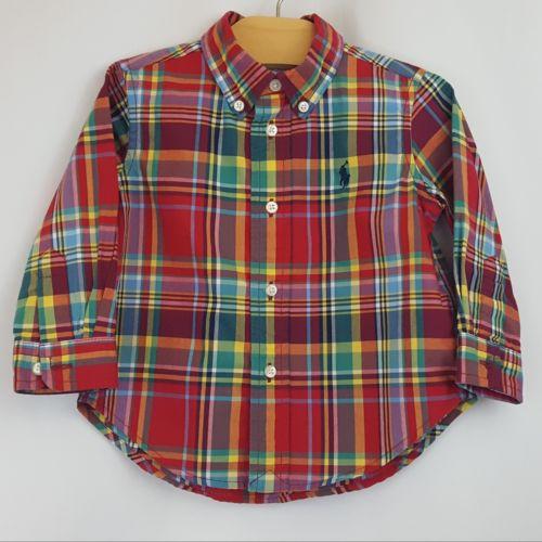Ralph Lauren Polo Baby Boy 12 Month Long Sleeve Collard Dress Shirt Blue Plaid