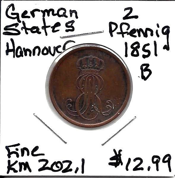 German States (Hannover) KM 202.1 1851 B 2 Pfennig Fine