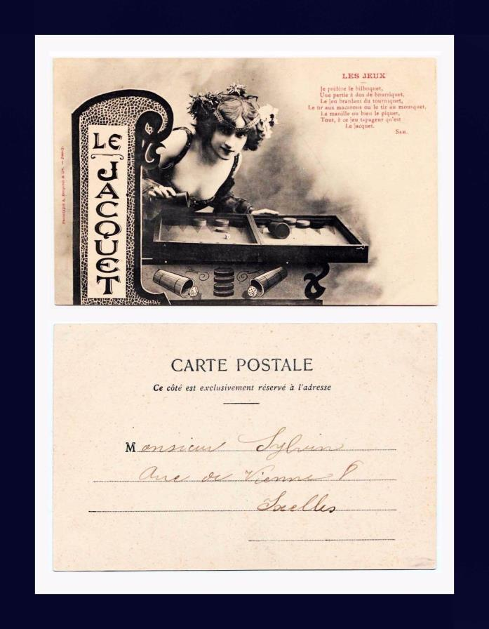 GAMBLING LE JACQUET DICE GAME UNDIVIDED BACK POSTCARD PUBLISHED CIRCA 1905