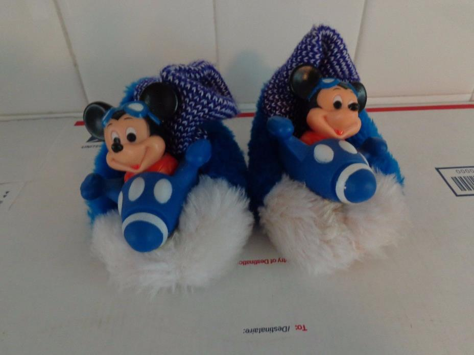 VINTAGE MICKEY MOUSE IN PLANE  CHILD'S SLIPPERS SIZE 5