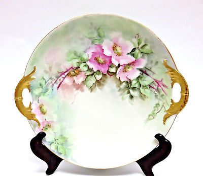 Signed Haviland France Porcelain Hand Painted Roses Serving Dish Tray w/ Handles