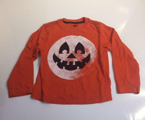 Crazy 8 Boys size 4T Pumpkin Jack O Lantern Halloween Orange Shirt appliqué Fall