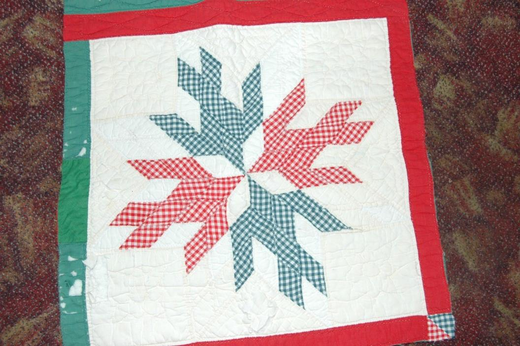 Antique Dove in Window Cotton Quilt Red Green Patchwork Piece
