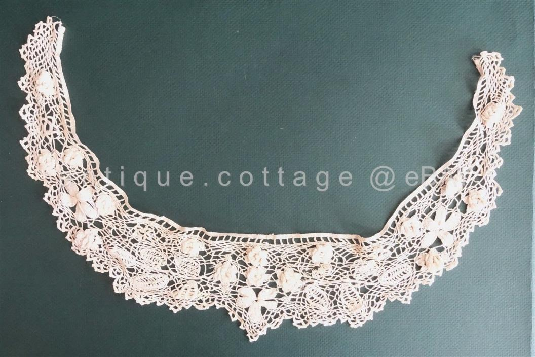 antique victorian HANDMADE CROCHET LACE DRESS COLLAR TRIM w 3d FLOWERS