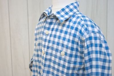LANDS' END Boys L/Sleeve Gingham Polo in Blue/White SZ 5/6