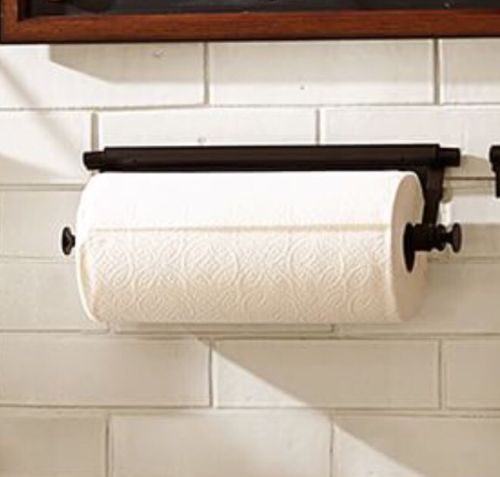 NEW Pottery Barn Daily System Rustic Mahogany PAPER TOWEL BAR Bronze