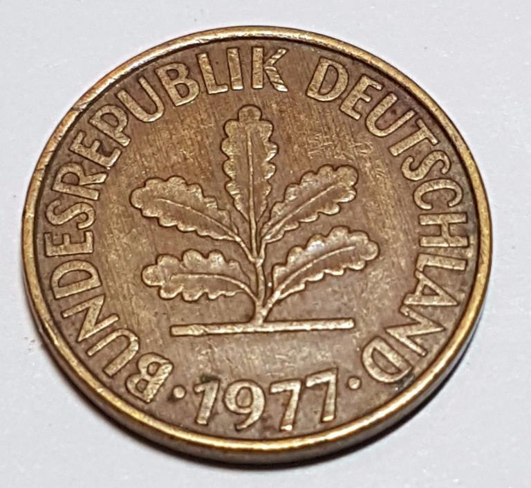 1977 G 10 Pfennig German Coin