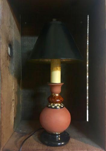 RARE MACKENZIE CHILDS POTTERY TERRACOTTA CANDLESTICK LAMP HAND PAINTED
