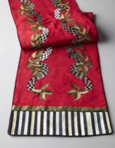 ULTRA RARE! MACKENZIE-CHILDS HOLLY & BERRY COURTLY STRIPE TABLE RUNNER! RETIRED!