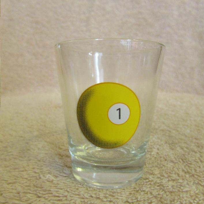 Billiard Pool # 1 Ball Shot Glass CLEAR GLASS