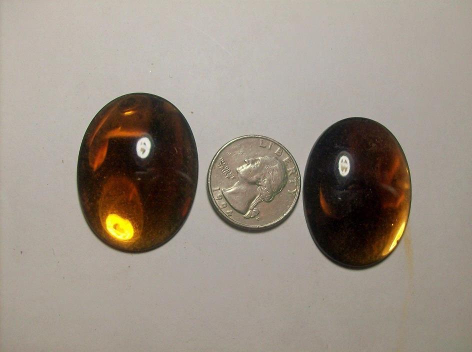 2 HUGE TOPAZ SMOOTH TOP FLAT GLASS RHINESTONE --1930,s-----#14---VINTAGE