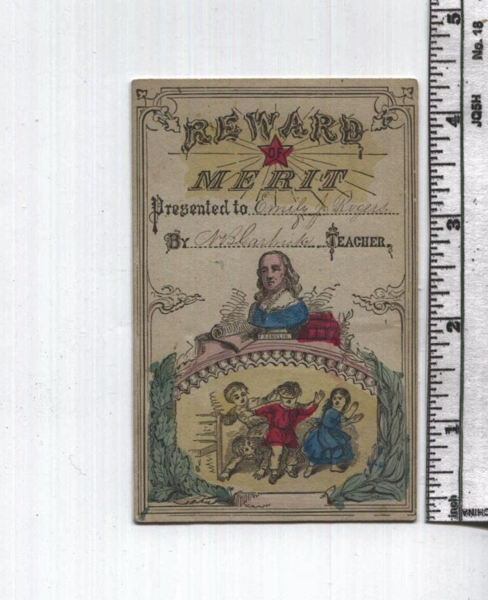 Antique Reward of Merit - Ben Franklin Bust - Hand Colored - Civil War Era