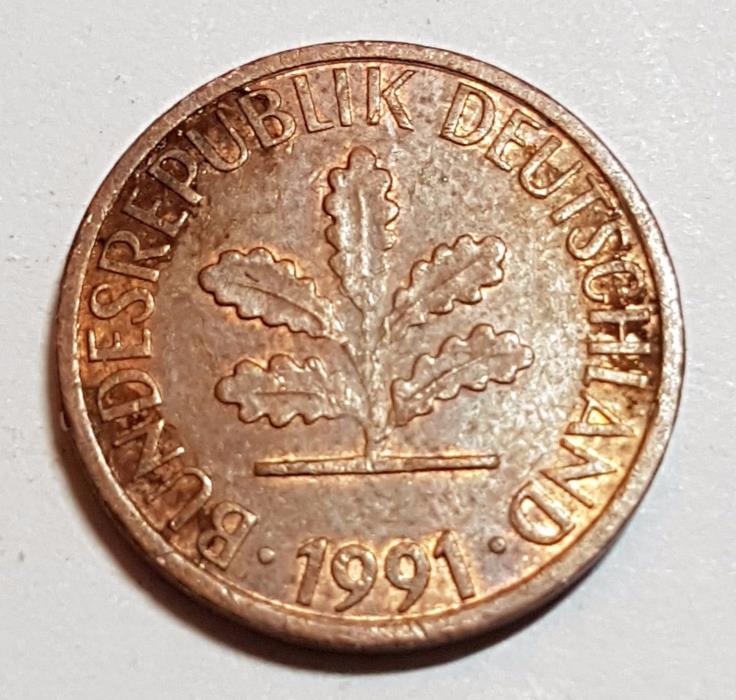 1991 D 1 Pfennig German Coin