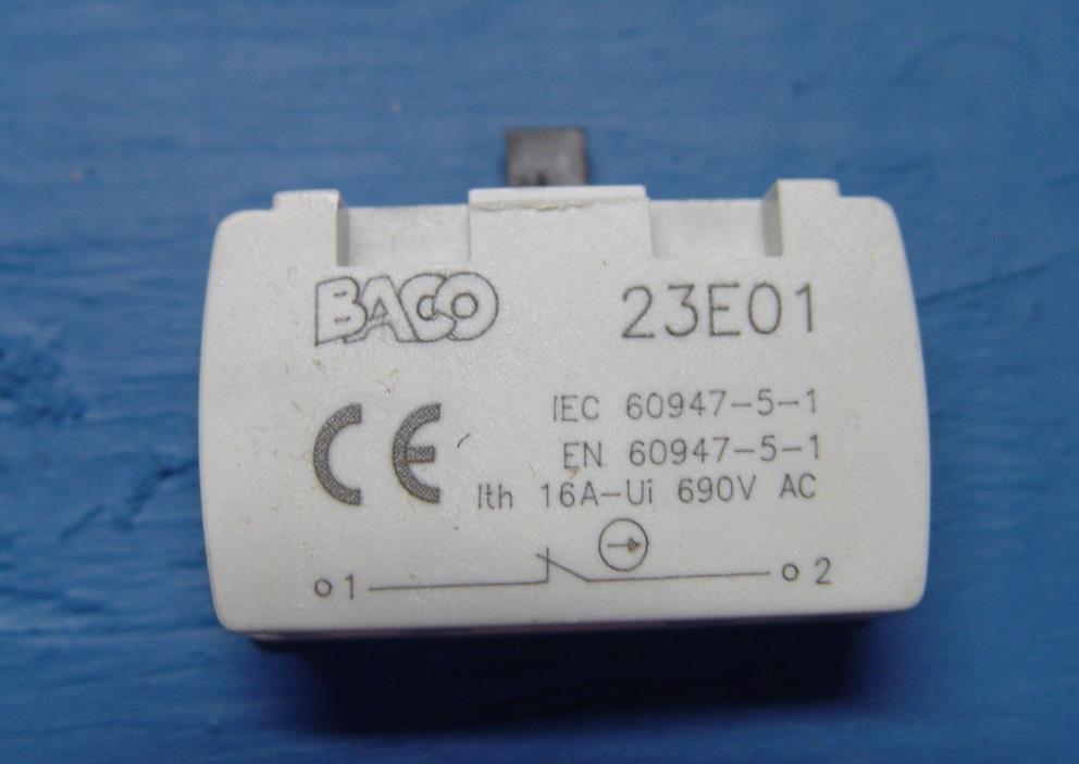 NEW BACO 23-E01 Contact Block 23E01 - normally closed button (stop)