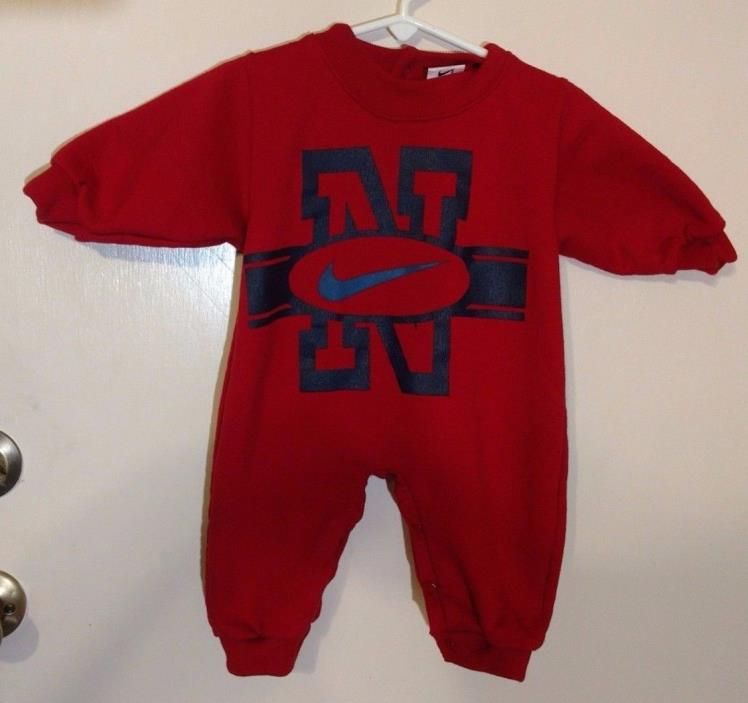 Nike Heavyweight Baby One Piece Outfit 6 - 9 Months Snap Legs Long Sleeve Red