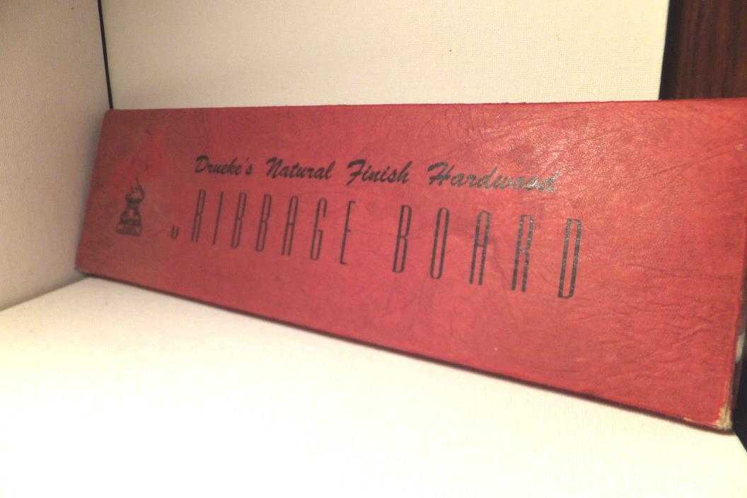 Vintage Drueke #28 Wood Regulation 3 Track Cribbage Board w/pegs & Box