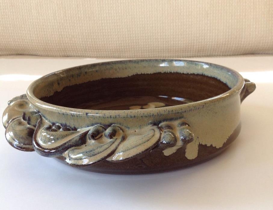 SAM MACHULIS POTTERY 1991 Ceramic Art Piece Dish Browns, Tans, Blues Glaze MINT