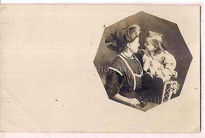 Darling Mother & Daughter Big Hair Bow Victorian Fashion 1910s Photo Postcard