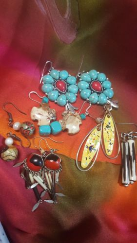 MIXED LOT 6 PAIR SOUTH WESTERN DANGLE EARRINGS CROSS SQUASH BLOSSOM QUILL