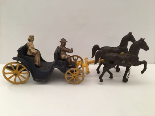 Antique 1940's Cast Iron Stanley Toys Horse Carriage Wagon Original - 2 People