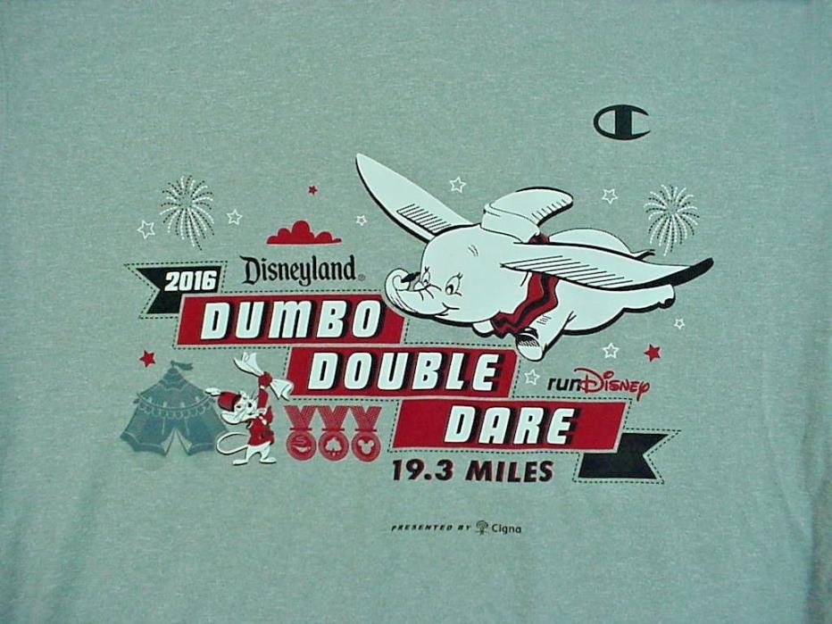 2016 Disneyland Dumbo Double Dare 19.3 Miles Gray T-Shirt XLarge NEW