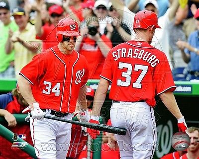 Bryce Harper & Stephen Strasburg Action Washington Nationals 8x10 photo