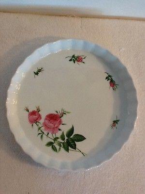 Christineholm White Porcelain Pink Rose Quiche/Tart/Pie Baking Dish 9
