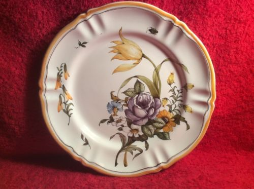 Antique Vintage Moustiers French Faience Flower Bouquet Plate, ff483
