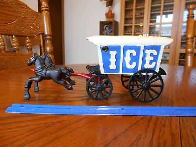 Vintage Cast Iron Horse Drawn Ice Wagon with 2 Horses, Very Collectible