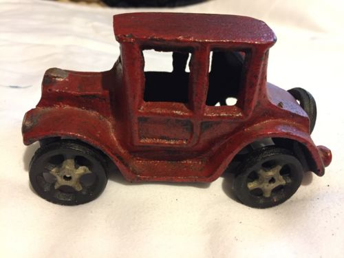 "Cast Iron Ford Model A Car 5"" long 2.50"" across man cave decor cast iron wheels"