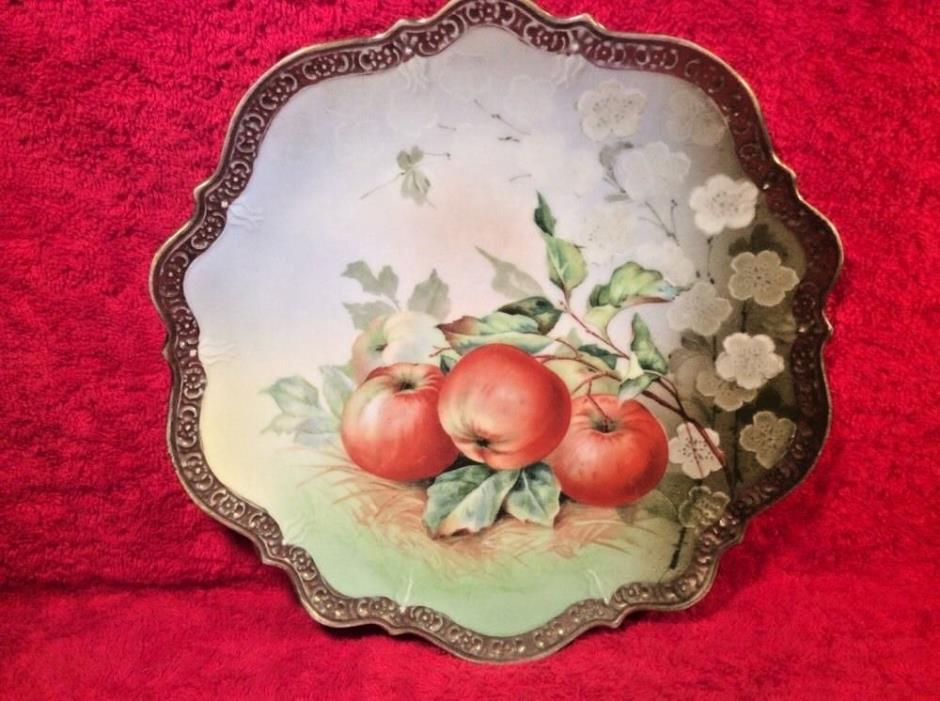 Antique German Porcelain Hand Painted Apples Cabinet Plate c1875-1920, p102