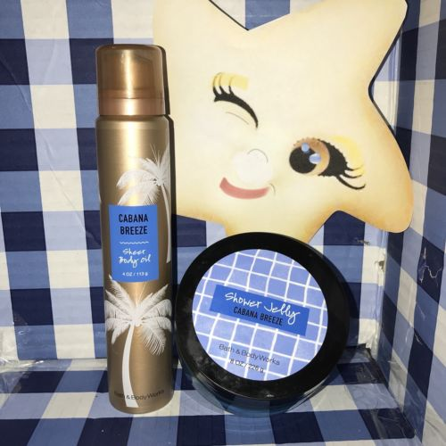BATH AND BODY WORKS SHEET BODY OIL & Shower Jelly CABANA BREEZE*retired*